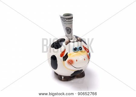 Moneybox A Cow With The Note Of Dollar