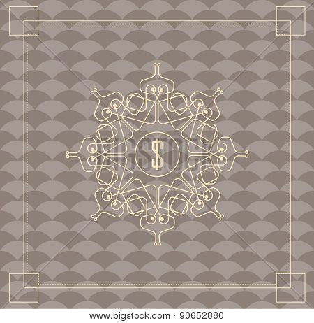 Vintage vector pattern. Modern stylish texture. Repeating geometric tiles with hexagonal elements. Flourishes calligraphic monogram emblem template