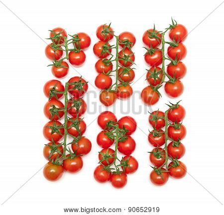 Ripe Cherry Tomatoes Isolated On A White Background
