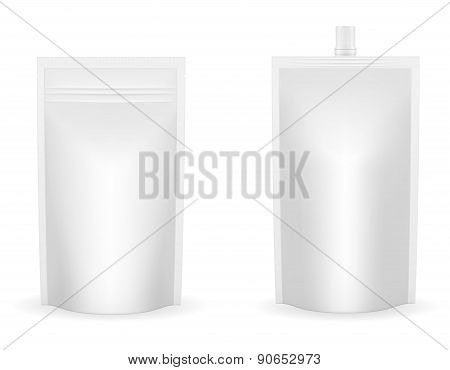 White Packaging Foil For Ketchup Or Sauce Vector Illustration