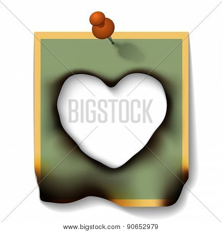 Burnt Paper Card With Hole Heart Shaped
