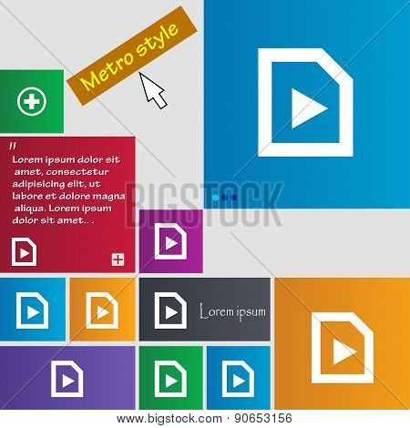 Play Icon Sign. Metro Style Buttons. Modern Interface Website Buttons With Cursor Pointer. Vector