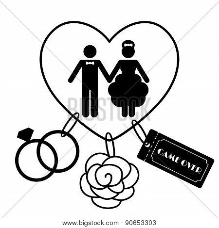 Cartoon Funny Wedding Symbols