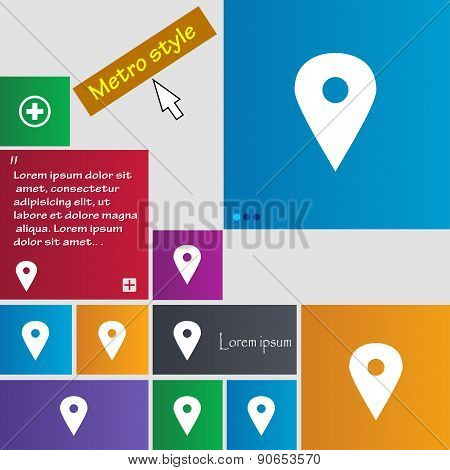 Map Pointer, Gps Location Icon Sign. Metro Style Buttons. Modern Interface Website Buttons With Curs