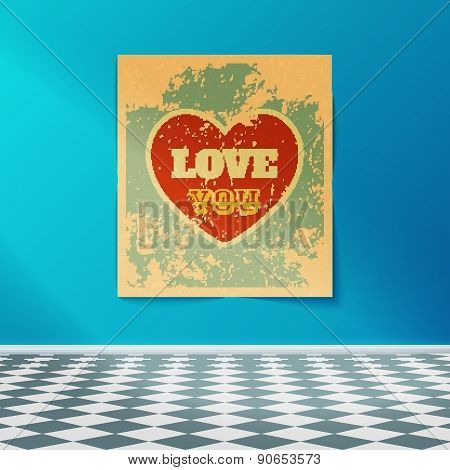 Love You Retro Poster
