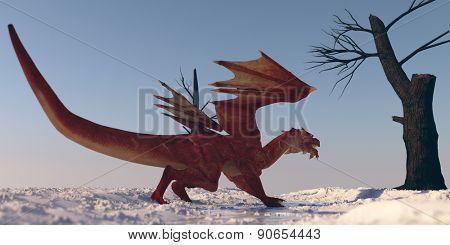 red dragon on snow