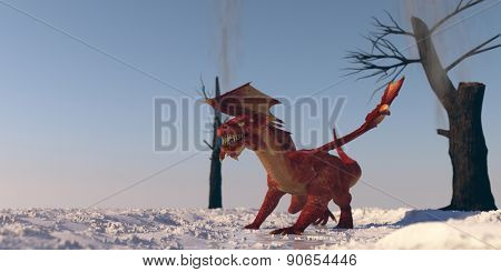 red dragon on snow