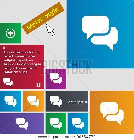 Speech Bubble, Think Cloud Icon Sign. Metro Style Buttons. Modern Interface Website Buttons With Cur
