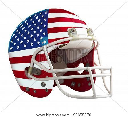 Flagged Usa American Football Helmet