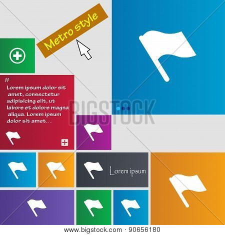 Finish, Start Flag Icon Sign. Metro Style Buttons. Modern Interface Website Buttons With Cursor Poin