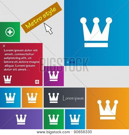 King, Crown Icon Sign. Metro Style Buttons. Modern Interface Website Buttons With Cursor Pointer. Ve