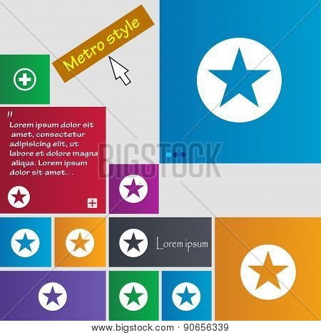Star, Favorite Icon Sign. Metro Style Buttons. Modern Interface Website Buttons With Cursor Pointer.