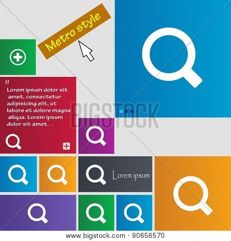 Magnifier Glass Icon Sign. Metro Style Buttons. Modern Interface Website Buttons With Cursor Pointer