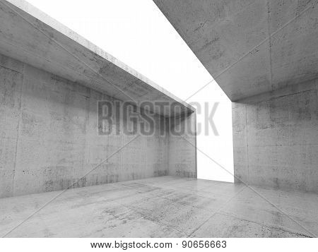 3D Empty Concrete Nterior With White Opening