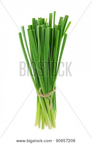 A bunch of fresh Chinese chives, isolated on white background