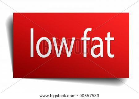 Low Fat Red Square Isolated Paper Sign On White