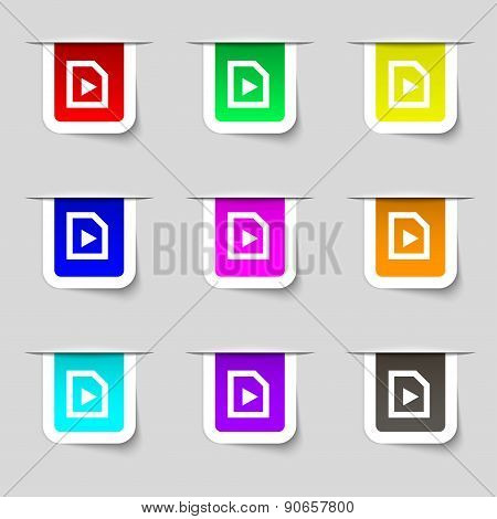 Play Icon Sign. Set Of Multicolored Modern Labels For Your Design. Vector