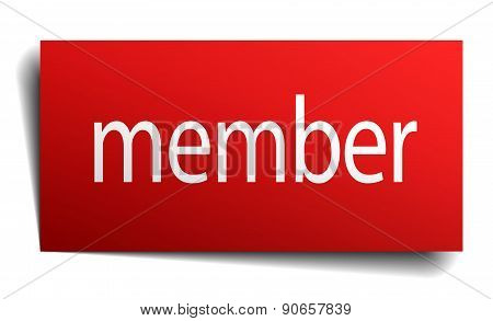 Member Red Paper Sign On White Background
