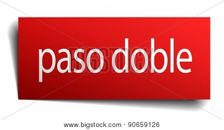 Paso Doble Red Square Isolated Paper Sign On White