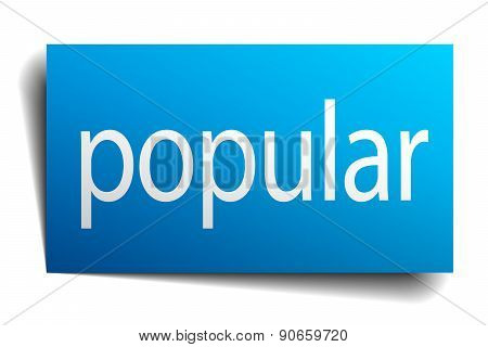 Popular Blue Paper Sign On White Background