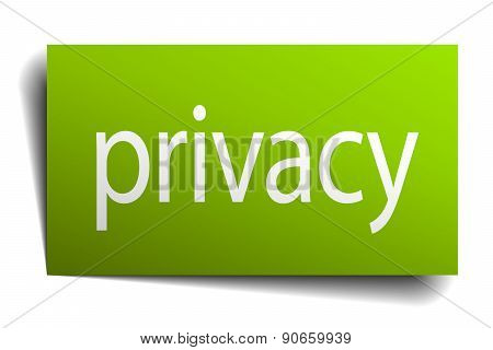 Privacy Square Paper Sign Isolated On White