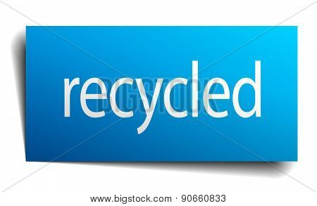 Recycled Blue Paper Sign On White Background