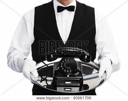 butler with rotary phone