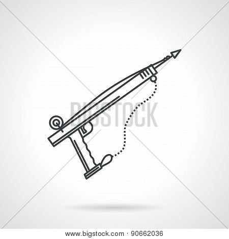 Speargun black line vector icon