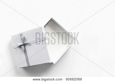 White Empty Gift Box Isolated Top View