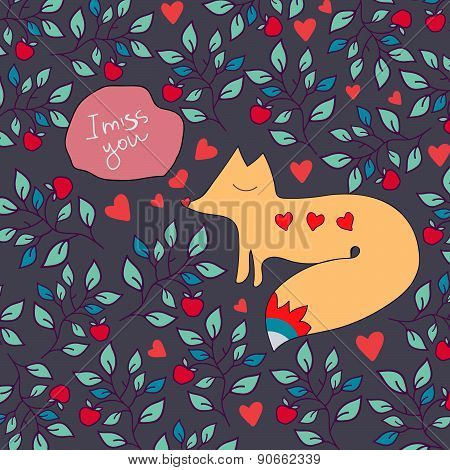 Valentine Greeting Card With Fox. Fox And Flowers Ornament Greeting Card.