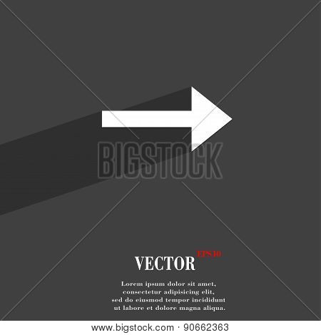Arrow Right, Next Icon Symbol Flat Modern Web Design With Long Shadow And Space For Your Text. Vecto