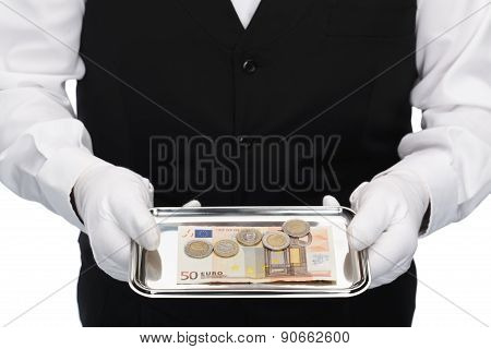 tray with euro currency