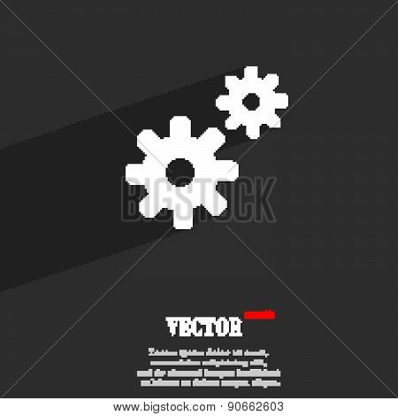 Cog Settings,  Cogwheel Gear Mechanism Icon Symbol Flat Modern Web Design With Long Shadow And Space