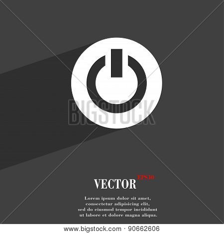 Power,  Switch On, Turn On  Icon Symbol Flat Modern Web Design With Long Shadow And Space For Your T