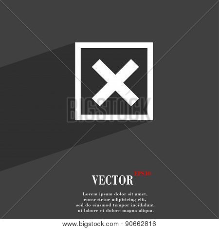 Cancel  Icon Symbol Flat Modern Web Design With Long Shadow And Space For Your Text. Vector