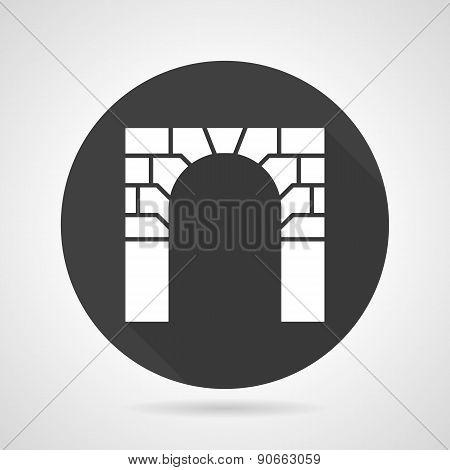 Brick archway black round vector icon