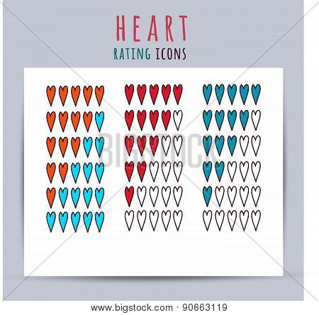 Heart Rating Icons. Vector Illustration