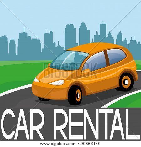 Vector illustration. Car rental.