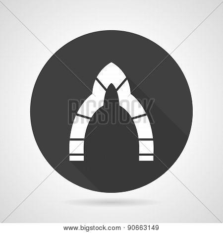 Lancet archway black round vector icon