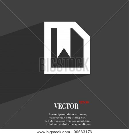 Bookmark Icon Symbol Flat Modern Web Design With Long Shadow And Space For Your Text. Vector
