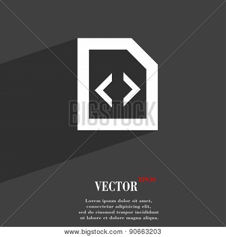 Programming Code Icon Symbol Flat Modern Web Design With Long Shadow And Space For Your Text. Vector