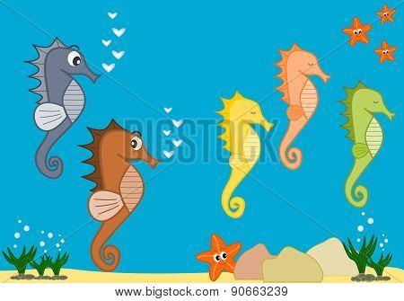 sea life cartoon illustration with cute seahorses