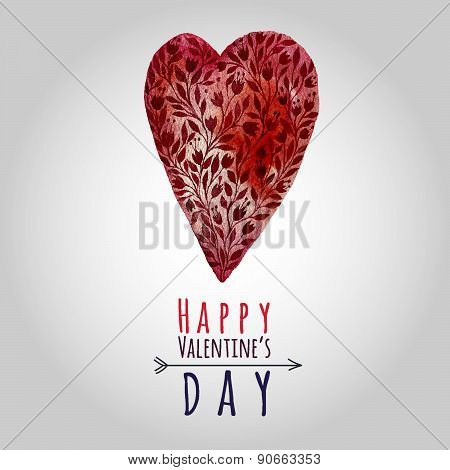 Watercolor Painted Red Heart, Vector Card