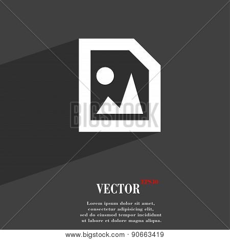 File Jpg Icon Symbol Flat Modern Web Design With Long Shadow And Space For Your Text. Vector