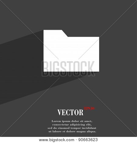 Document Folder Icon Symbol Flat Modern Web Design With Long Shadow And Space For Your Text. Vector