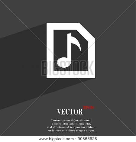 Audio, Mp3 File Icon Symbol Flat Modern Web Design With Long Shadow And Space For Your Text. Vector