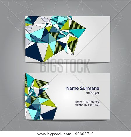 Business Card Template, Polygon Pattern Vector Design Editable. Low Poly Design.