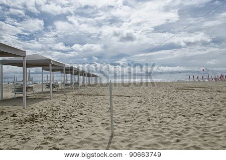Gazebo On The Beach In Spring