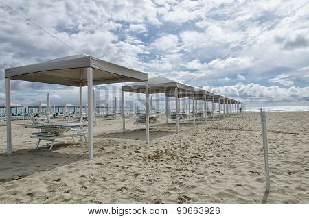 Slew Of Gazebo On The Beach
