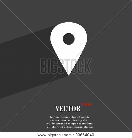 Map Pointer, Gps Location Icon Symbol Flat Modern Web Design With Long Shadow And Space For Your Tex